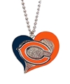 Chicago Bears Swirl Heart NFL Silver Team Pendant Necklace *NEW*