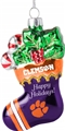 Clemson Tigers NCAA Blown Glass Glitter Stocking Ornament *NEW* - 6 Count Case