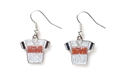 Cleveland Browns NFL Silver Glitter Jersey Dangle Earrings *CLOSEOUT*