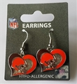 Cleveland Browns NFL Swirl Heart Dangle Earrings