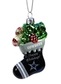 Dallas Cowboys NFL Blown Glass Glitter Stocking Ornament *SALE* - 6 Count Case