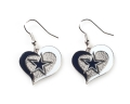 Dallas Cowboys NFL Silver Swirl Heart Dangle Earrings