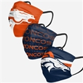 Denver Broncos NFL Matchday Face Cover 3-Pack *NEW*