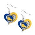 Golden State Warriors NBA Silver Swirl Heart Dangle Earrings