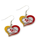 Kansas City Chiefs NFL Silver Swirl Heart Dangle Earrings