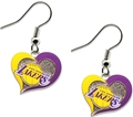 Los Angeles Lakers NBA Silver Swirl Heart Dangle Earrings *CLOSEOUT*
