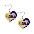 LSU Tigers NCAA Silver Swirl Heart Dangle Earrings
