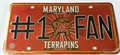 Maryland Terrrapins #1 Fan Bling NCAA Embossed Metal License Plate Tag *CLOSEOUT $1 EACH*