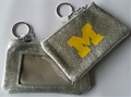 Michigan Wolverines NCAA Silver Sparkle Coin Purse *NEW*
