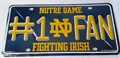 Notre Dame Fighting Irish #1 Fan NCAA Embossed Metal License Plate Tag