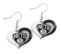 Brooklyn Nets NBA Swirl Heart Dangle Earrings *SALE*