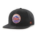 New York Mets MLB Cooperstown Black Sure Shot Captain Snapback Hat *NEW*