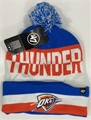 Oklahoma City Thunder NBA Blue Raz Split Text Knit Cuff Cap w/ Pom *NEW*