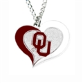 Oklahoma Sooners Swirl Heart NCAA Silver Team Pendant Necklace