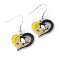 Pittsburgh Penguins NHL Silver Swirl Heart Dangle Earrings