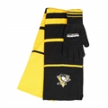 Pittsburgh Penguins NHL Team Knit Stripe Scarf & Glove Set *NEW*