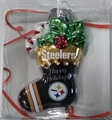 Pittsburgh Steelers NFL Blown Glass Glitter Stocking Ornament *SALE* - 6 Count Case