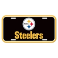 Pittsburgh Steelers Name & Logo NFL Souvenir Black Plastic License Plate