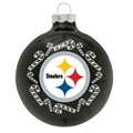 Pittsburgh Steelers NFL Candy Cane Small Black Glass Ball Ornament 6 Count Case
