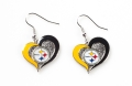 Pittsburgh Steelers NFL Swirl Heart Dangle Earrings