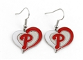 Philadelphia Phillies MLB Silver Swirl Heart Dangle Earrings *SALE*