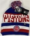 Detroit Pistons NBA Royal Split Text Knit Cuff Cap w/ Pom *NEW*