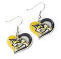 Nashville Predators NHL Silver Swirl Heart Dangle Earrings