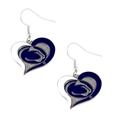 Penn State Nittany Lions NCAA Silver Swirl Heart Dangle Earrings