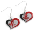 Houston Rockets NBA Silver Swirl Heart Dangle Earrings