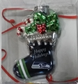 Seattle Seahawks NFL Blown Glass Glitter Stocking Ornament *SALE* - 6 Count Case
