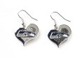 Seattle Seahawks NFL Silver Swirl Heart Dangle Earrings *SALE*