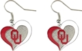 Oklahoma Sooners NCAA Silver Swirl Heart Dangle Earrings