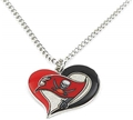 Tampa Bay Buccaneers Swirl Heart NFL Silver Team Pendant Necklace *SALE*