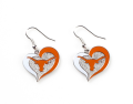 Texas Longhorns NCAA Swirl Heart Dangle Earrings