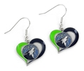 Minnesota Timberwolves NBA Swirl Heart Dangle Earrings *SALE*