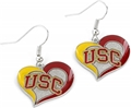 USC Trojans NCAA Swirl Heart Dangle Earrings *NEW*