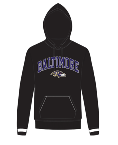 Baltimore Ravens NFL Jet Black Embroidered Team Logo Mens Hoodie
