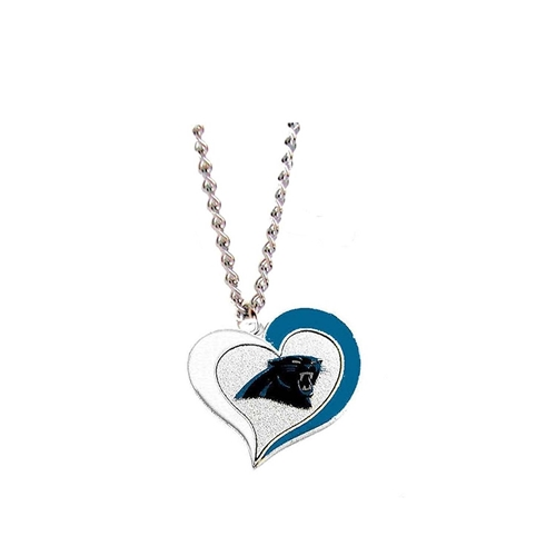 Carolina Panthers Swirl Heart NFL Silver Team Pendant Necklace