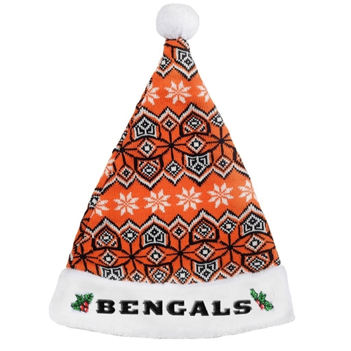 "Cincinnati Bengals NFL Knit Holiday 18"" Christmas Santa Hat"