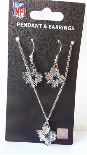 Dallas Cowboys NFL State Design Pendant & Earrings Set *SALE*