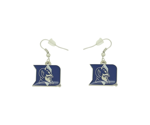 Duke Blue Devils Logo NCAA Silver Dangle Earrings