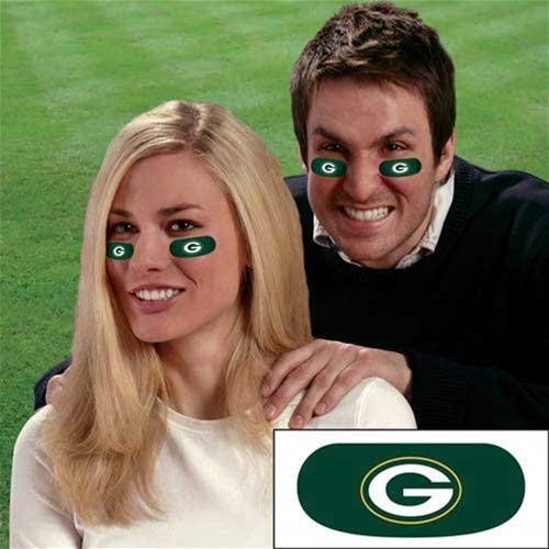 Green Bay Packers NFL Vinyl Face Decorations 6 Pack Eye Black Strips *NEW*