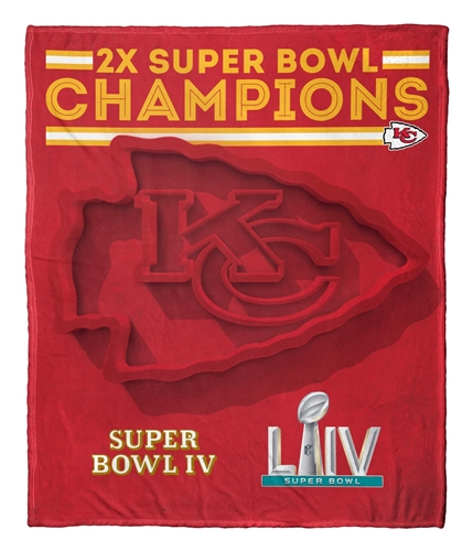 Kansas City Chiefs NFL 2X Super Bowl Champions HD Silk Touch Throw Blanket *SALE*