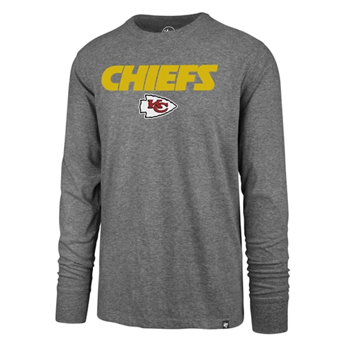 Kansas City Chiefs NFL Slate Grey Pregame Super Rival Mens Long Sleeve Tee *NEW*