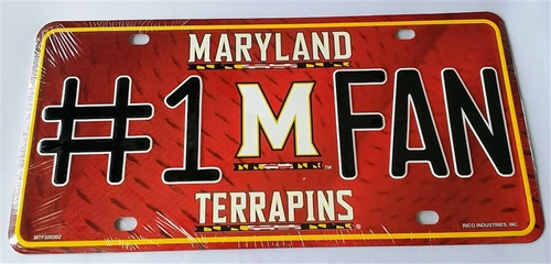 Maryland Terrrapins #1 Fan NCAA Embossed Metal License Plate Tag *CLOSEOUT $1 EACH*