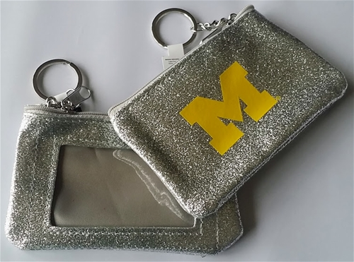 Michigan Wolverines NCAA Silver Sparkle Coin Purse *CLOSEOUT*