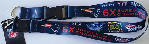 New England Patriots NFL 6x Super Bowl Champs Dynasty Lanyard *NEW*
