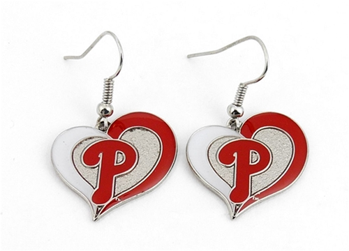 Philadelphia Phillies MLB Silver Swirl Heart Dangle Earrings