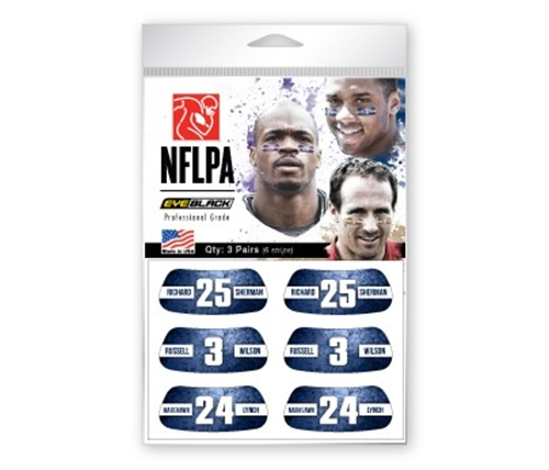 Seattle Seahawks Players NFLPA 6 Pack Eye Black Strips *CLOSEOUT*