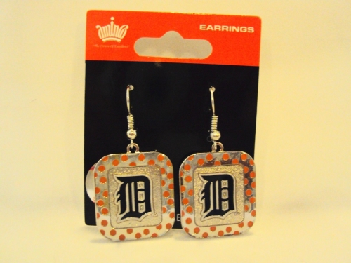 Detroit Tigers MLB Polka Dots Silver Dangle Earrings *CLOSEOUT*